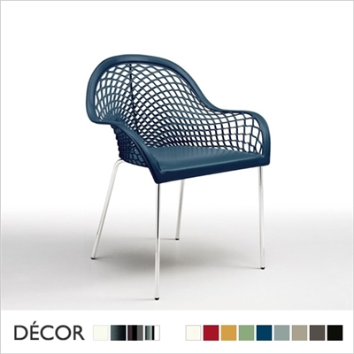 GUAPA CHAIR WITH ARMRESTS, 4 LEGS, HIDE LEATHER
