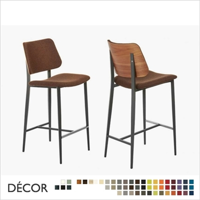 JOE BARSTOOL, WOODEN OUTSIDE BACKREST, REAL LEATHER, ECO LEATHER & DESIGNER FABRICS