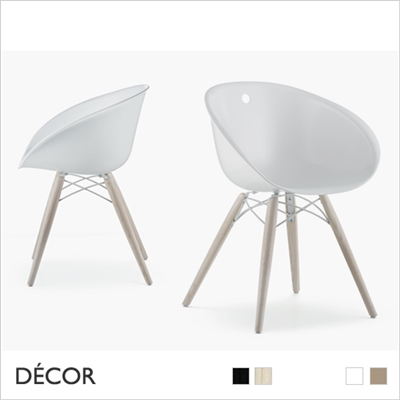 GLISS CHAIR, TECHNOPOLYMER, WOODEN LEGS