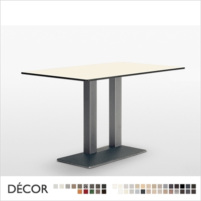 QUADRA TWIN COLUMN TABLE BASE, RECTANGULAR