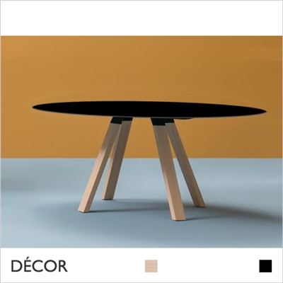 ARKI WOOD SQUARE TABLE, BLACK, SOLID OAK LEGS, SOLID LAMINATE TOP