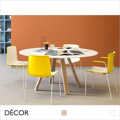 ARKI WOOD SQUARE TABLE, WHITE, SOLID OAK LEGS, SOLID LAMINATE TOP