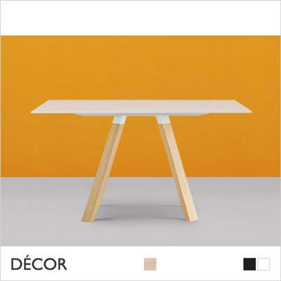 ARKI WOOD SQUARE TABLE,  SOLID OAK LEGS, SOLID LAMINATE TOP