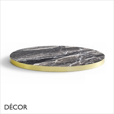 30MM LAMINATE TOP, BLACK MARBLE, BRASS EDGE