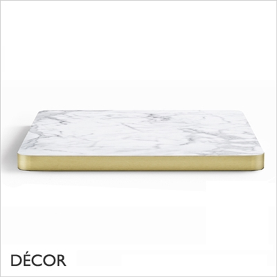 30MM LAMINATE TOP, WHITE MARBLE, BRASS EDGE
