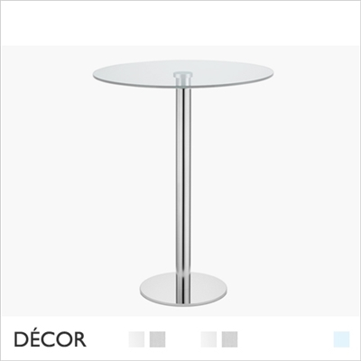 TIFFANY ROUND BAR HEIGHT TABLE BASE WITH CLEAR GLASS TOP