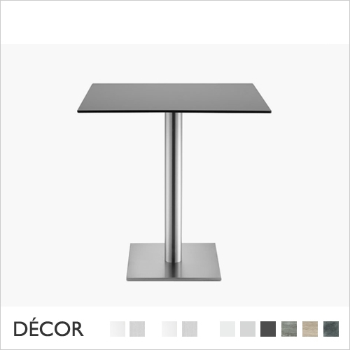 TIFFANY SQUARE TABLE BASE WITH ROUND COLUMN, COMPACT LAMINATE TOPS
