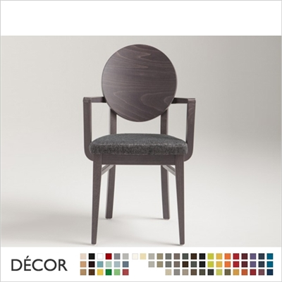 WOODY CHAIR WITH ARMRESTS, ECO LEATHER, ECO SUEDE OR FABRIC