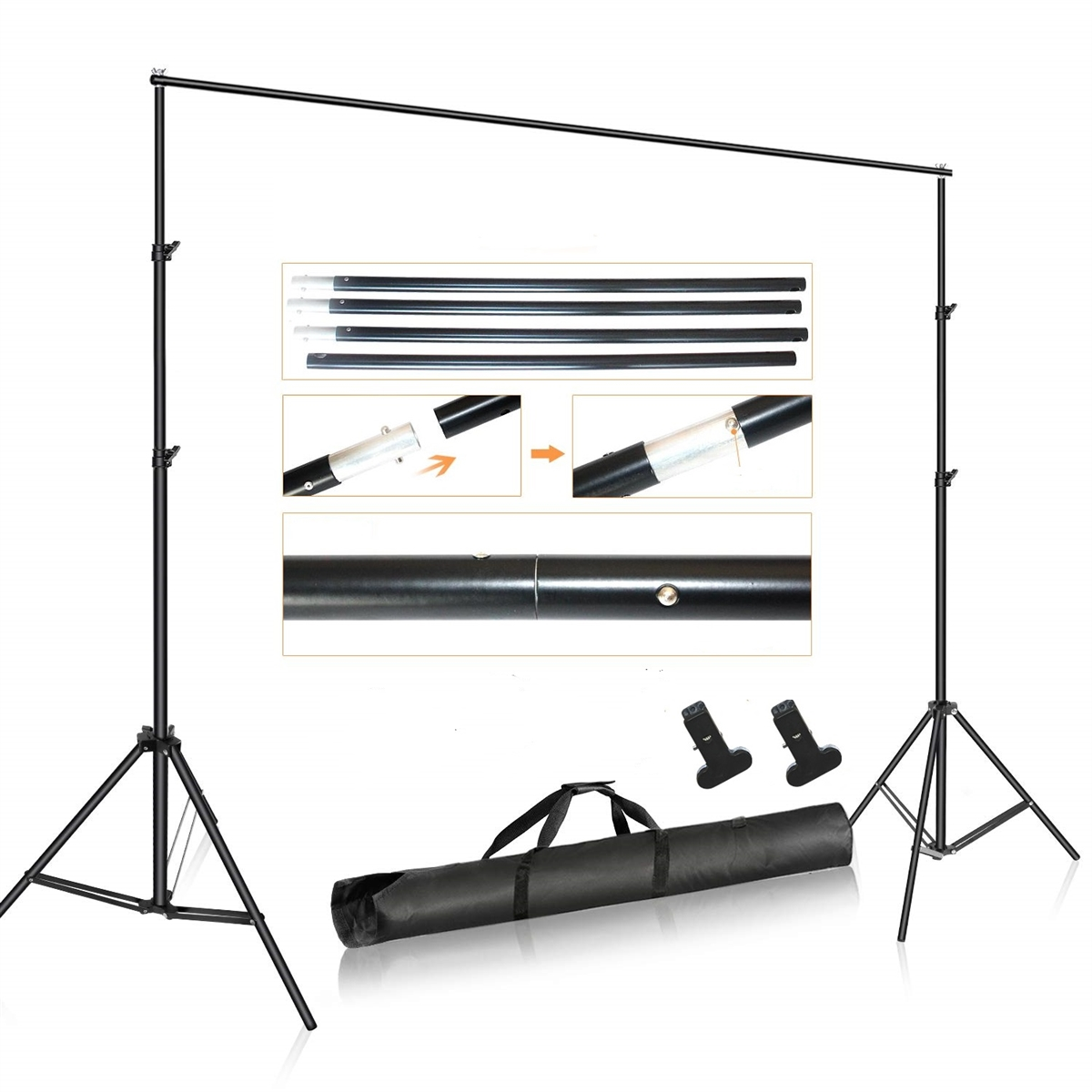 new studio backdrop support stand kit with 2 x clamps u0026 backdrops