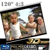 "Pro 120"" 4:3 Ratio Manual pull down Retractable Projector screen home theater"