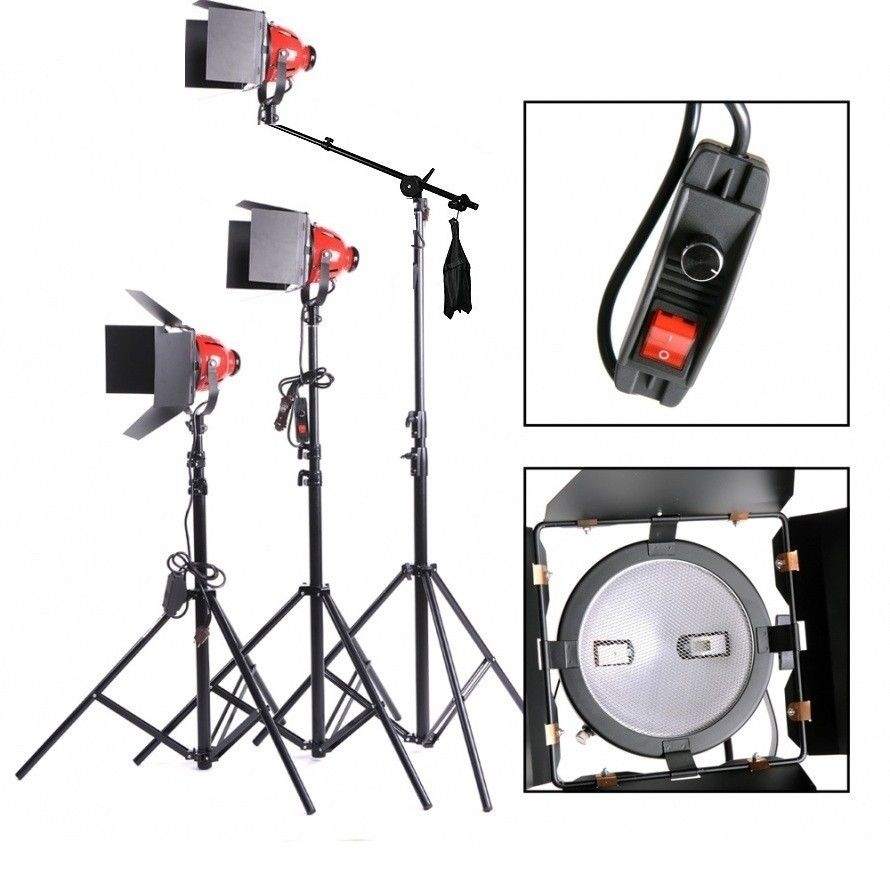 Dimmable 3 x 800W Red Head Light Continuous Boom Light Kit Photo Video Focus  sc 1 st  Canadian Studio & Dimmable 3 x 800W Red Head Light Continuous Boom Light Kit Photo ...