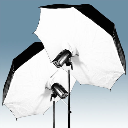 "Reflective Umbrella Softbox: 2x 33"" Umbrella Softbox Brolly Black/Silver Reflective"