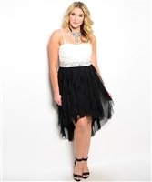 Plus Size Black & White Latin Dress