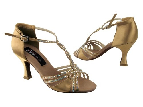 c196ef4d560cc2 Rhinestone ballroom dance shoes and rhinestone salsa shoes in tan or ...