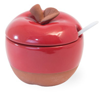 Red Cherry Terracotta Apple Sugar Bowl