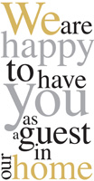 Happy To Have You Gold/Silver Guest Towel