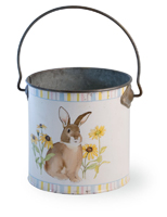 Bunny in Flowers Pail with Handle