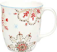Winter Crystals White Red Bone China Country Mug