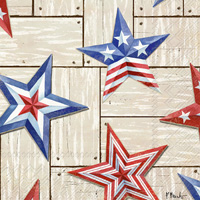Patriotic Barn Stars Cocktail Napkin