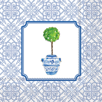Rosanne Beck Blue Topiary Cocktail Napkin