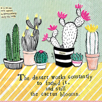 Curly Girl Cactus Blooms Cocktail Napkin