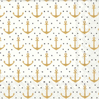 Anchor Dots Gold Cocktail Napkin
