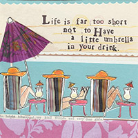 Curly Girl Little Umbrella Cocktail Napkin