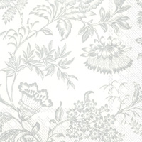 Florence White/Silver Cocktail Napkin