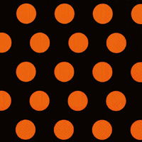 Big Dots Black Orange Cocktail Napkin