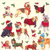 Christmas Dogs Cocktail Napkin