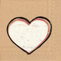 Brown Paper Heartbeat Cocktail Napkin
