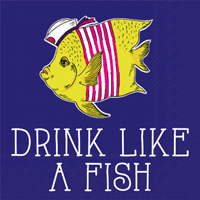 Rosanne Beck Boho Animals: Drink Like a Fish Cocktail Napkin