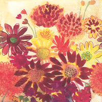 Bunch of Fall Flowers Cocktail Napkin