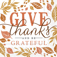 Rosanne Beck Give Thanks Cocktail Napkin