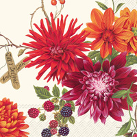 Dahlia Garden Cream Cocktail Napkin