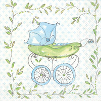 Rosanne Beck Blue Baby Carriage Cocktail Napkin