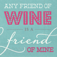 Rosanne Beck Any Friend of Wine Cocktail Napkin