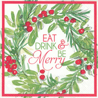 Rosanne Beck Be Merry Wreath Cocktail Napkin