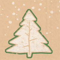 Brown Paper Fir Tree Cocktail Napkin