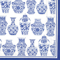 Rosanne Beck Blue and White Urns Cocktail Napkin