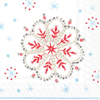 Winter Crystals White Red Cocktail Napkin