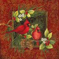 Botanical Christmas Birds Cocktail Napkin