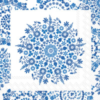 Lilly White/Blue Cocktail Napkin