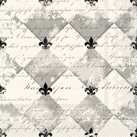 French Fleur de Lis Cream Black Cocktail Napkin