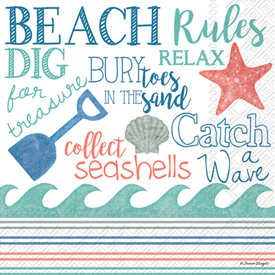 Beach Rules Cocktail Napkin