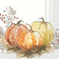 Painted Pumpkin Cocktail Napkin