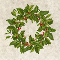 Bronson Pinchot Holly Wreath Cocktail Napkin