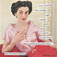 Anne Taintor I Won't Eat Cocktail Napkin