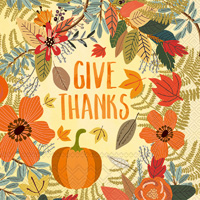 Mia Charro Give Thanks Floral Cocktail Napkin