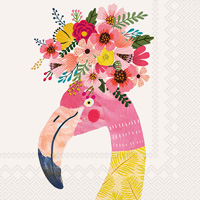 Mia Charro Floral Flamingo Cocktail Napkin